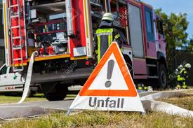 100 Fire Truck Accident German Unfall Sign Near A Stock Photo