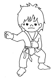 Karate Kid Punching Techniques Coloring Page Kids Play Color