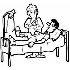 Man Lying On Bed With Broken Leg Coloring Page