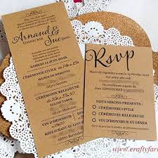 Rustic French Wedding Invitation Card With RSVP