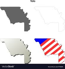 Yolo County California Outline Map Set Vector Image