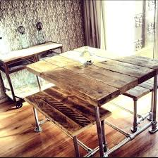 Small Industrial Dining Table Scaffold With Benches Room Style