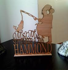 Unique Wedding Cake Topper Couple Fishing Pole Heart Rustic Custom Personalized TopperFunny