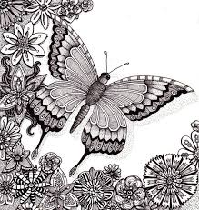 Butterfly Flower Coloring Pages Colouring Adult Detailed Advanced Printable