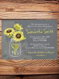 Sunflowers Mason Jar Bridal Shower InvitationVintage InvitationGray Brown Sunflower Wedding 5249