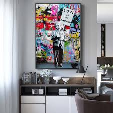 100 Pop Art Home Decor US 397 40 OFFModern Street Wall Graffiti Canvas Prints Lover Is The Answer Paintings Einstein Wall Pictures Cuadrosin