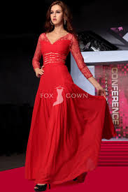 red lace a line chiffon evening dress with v neck and sheer jacket