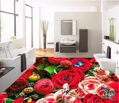 Custom Mural 3d Flooring Picture Pvc Self Adhesive Wallpaper Bedroom Beautiful Roses Sea Decor Painting