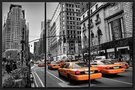 tableau triptyque tendance rue de new york en noir et blanc et