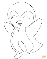 Baby Penguin Coloring Pages Cute Ba Page Free Printable For Kids