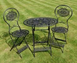 Black Wrought Iron 3 Piece Bistro Style Garden Patio ... 42 Black Metal Outdoor Fniture Ding Phi Villa 300lbs Wrought Iron Patio Bistro Chairs With Armrest For Genbackyard 2 Pack Wrought Iron Garden Fniture Mainstays 3piece Set Gorgeous Patio Design Using Black Chair And Round Table With Curving Legs Also Fabric Arlington House Chair Commercial Sams Club 2498 Slat At Home Lck Table2 Chairs Outdoor Gray Mesh Back