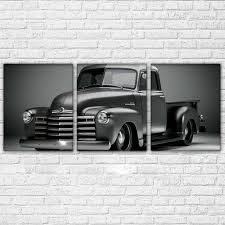3 Panel Chevy GMC 53 54 Truck Lowered Lowrider Black White Wall Art Canvas