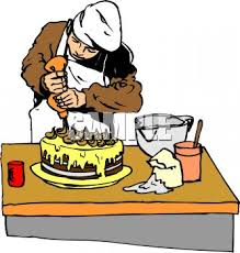 Baker Putting the Finishing Touches on a Cake Royalty Free Clip Art Illustration
