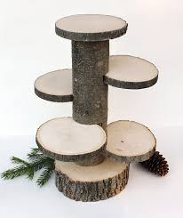 4 Tiered Rustic Cup Cake Stand Wood Stands Centerpiece Cupcake