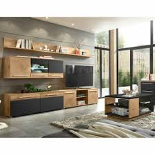 details zu tv wand anbauwand mediawand wohnzimmer set programm anthrazit holz modern