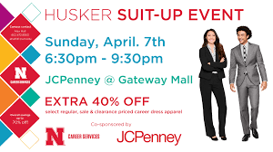 Husker Suit-Up Event @ Gateway Mall's JCPenney Store ... Free Shipping W Extra 6075 Off Ann Taylor Sale 40 Gap Canada Off Coupon Asacol Hd Printable Palmetto Armory Code 2018 Pinned April 24th A Single Item At Michaels Or Jcpenney Coupons May Which Wich Personal Creations Codes Online Fidget Spinner Uk Carters 15 Justice Coupons Husker Suitup Event Gateway Malls Store Promo Codes Up To 80 Dec19 Code Coupon N Deal