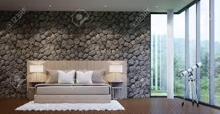 moderne luxus schlafzimmer schmücken wände mit naturstein raue haut
