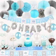 Baby Shower Decorations For Boys Elephant Theme Blue And Gray Its A Boy Baby Shower Banner