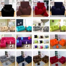 3 Seater Sofa Covers by Solid Pure Colour Poly Plush Stretch Couch Sofa Cover Protector
