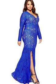 jhonpeter women long lace tight lace decorated gown blue jhonpeters
