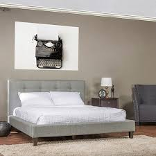 baxton studio quincy grey linen platform bed free shipping today