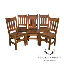 Mission Oak Antique Set Of 6 Stickley Era Dining Chairs   EBay Stickley Chair Used Fniture For Sale 52 Tips Limbert Mission Oak Taboret Table Arts Crafts Roycroft Original Arts And Crafts Mission Rocker Added To Top Ssr Rocker W901 Joenevo Antique Rocking Chair W100 Living Room Page 4 Ontariaeu By 1910s Vintage Original Grove Park Inn Rockers For Chairs The Roycrofters Little Journeys Magazine Pedestal Collection Fniture
