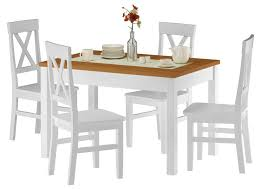zweifarbiger tisch eicheton weiß und 4 stühlen kiefer waschweiß 90 70 51ae set 23
