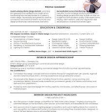 Interior Designer Sample Resumes Design Resume Examples