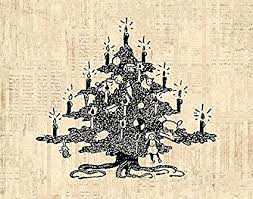 Vintage Decorated Christmas Tree Wall Art Print For Xmas Home Decoration Antique Or