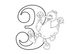 Learn Number 3 With Sesame Street Colouring Page Coloring