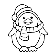 Penguin With Scarft Coloring Pages