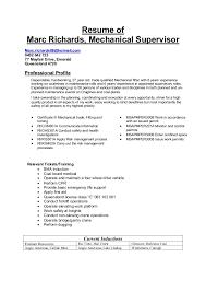Mechanical Maintenance Supervisor Resume Sales Site Sample Transportation Resumes