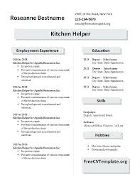 Sample Resume For Restaurant Helper As Well Examples Kitchen Staff Free Samples To