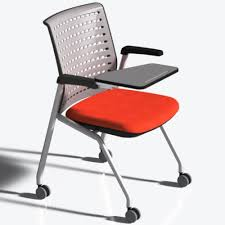Mayline Thesis - Static Back, Tablet - Fabric Origin Jet Seat - Poly Gray  Back - Gray Frame - Four-legged Base - 18.25