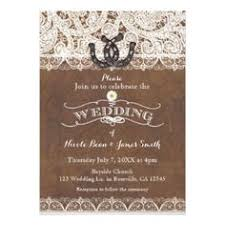 Rustic Teal Barn Wood Horseshoe Wedding Invitation