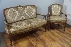 sofa sessel 2er set barock geschwungen grün polster holz vintage biedermeier chippendale retro