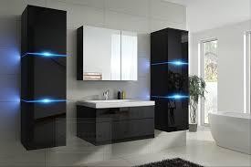 badmöbel set new schwarz hochglanz keramik waschbecken badezimmer led beleuchtung badezimmermöbel keramikbecken