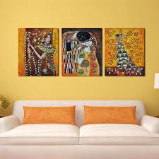 schlafzimmer berühmte künstler kunst deco kuss abstrakte billigen moderne leinwand 3 panel wandkunst malerei für wohnzimmer