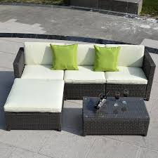 5 pc Wicker Rattan Sofa Cushioned Set Outdoor Furniture Sets