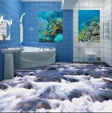 Free Shipping 3D Bathroom Wall Floor Self Adhesive Stickers Bedroom Painting Water