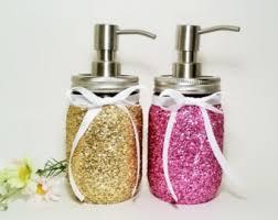 mason jar soap dispenser bathroom decor pink and gold decor