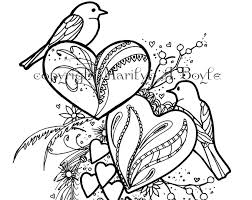 COLORING BOOK Of FIVE Pages On 140 Lb Watercolor Paper Birds And Hearts Hummingbird