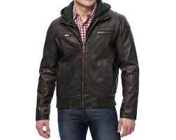 sean john new brown mens faux leather hooded bomber jacket msrp