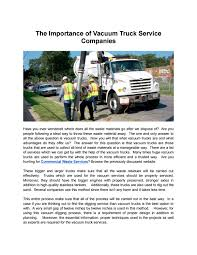 The Importance Of Vacuum Truck Service Companies By Michael Mason ... Used Western Star 4900sa Combi Vacuum Trucks Year 2007 Price Vacuum Trucks Curry Supply Company Small For Sale Best 2008 Intertional 7600 Tank Progress 300 To 995gallon Slidein Units Freightliner Vacuum Truck For Sale 112 Liquid Transport Trailers Dragon Products Ltd For Truck N Trailer Magazine Hydroexcavation Vaccon Used 1999 Sterling Lt9500 1831 Our Fleet Csa Specialised Services 2004 Freightliner Business Class M2 Truckdot Code In Flowmark Pump Portable Restroom