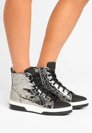 Neues Paradies Silber Love Moschino Damen Schuhe LO911S00Q D11 EMBOSSED LOGO Sneaker High Flach
