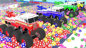 Learn Colors For Kids With MONSTER FIRE TRUCKS In Color Soccer Balls ...
