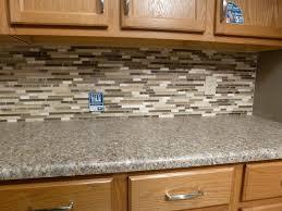 Mosaic Kitchen Tile Backsplash with Brown Cabinet Kitchen