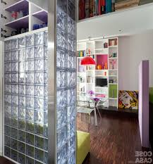 Furniture Room Divider Design Ideas White Stain Wall With Block Glass And