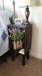 Popular Of Wooden Crate Nightstand With Stained Wood Bedside Table End