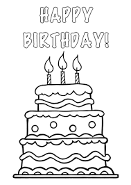 Black and White Birthday Cake with Candles Clip Art